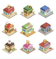 fast food restaurant and shop buildings vector image