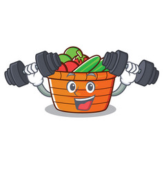 Fitness fruit basket character cartoon vector