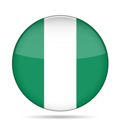 Flag of nigeria shiny round button vector
