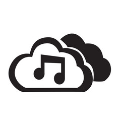 Flat black cloud music button icon vector