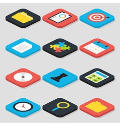 Flat Business Isometric Icons Set vector
