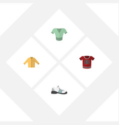 Flat garment set of banyan sneakers casual and vector