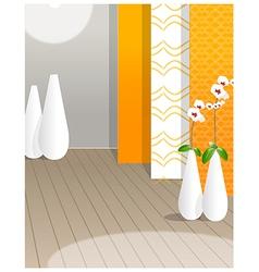 Flower vase against wallpaper vector image