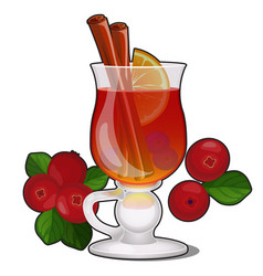 glass transparent glass with cranberry drink with vector image