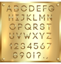 golden coated alphabet letters digits and vector image
