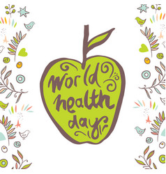 Greeting card of the world health day vector