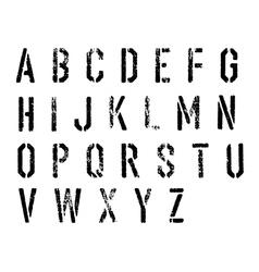 Grunge stencil alphabet set vector image