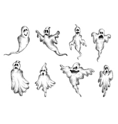 Halloween eerie and funny ghosts vector