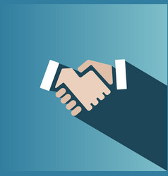Handshake icon with shadow on a blue background vector