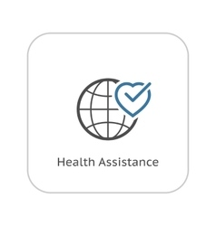 Health Assistance Icon Flat Design vector image