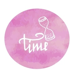 Hourglass time watercolor pink spot doodle vector