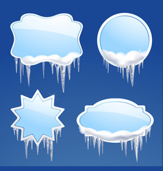 Icicle Frames Set vector image