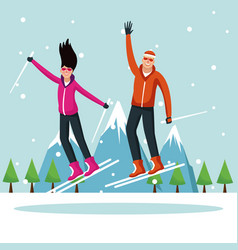 man and woman with skis vector image