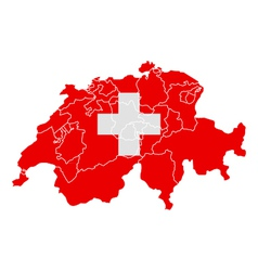 Map and flag of Switzerland vector image