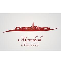 Marrakesh skyline in red vector image