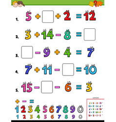 Maths calculation educational page for children vector