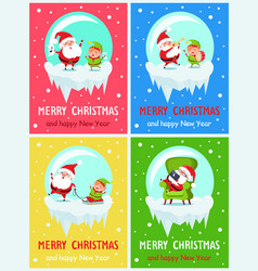 merry christmas placards set vector image vector image