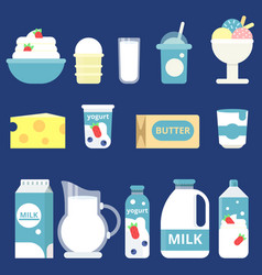 milk products cream yogurt and vector image
