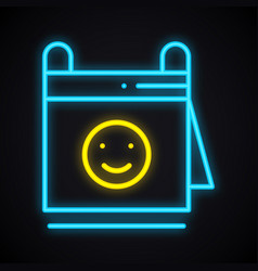 neon calendar with smile sign glowing reminder vector image