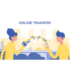 Online transfer concept with hand holding vector