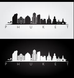 phuket skyline and landmarks silhouette vector image