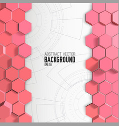Pink hexagons background with engineering drawings vector