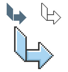Pixel icon orthogonally curved arrowin three vector