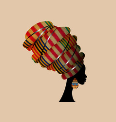 Portrait afro woman in ethnic turban head wraps vector