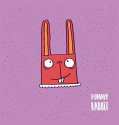 Rabbit with big ears in handmade cartoon style vector