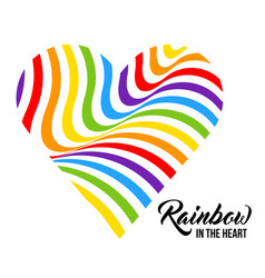 rainbow colored heart lgbt colors vector image