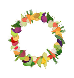 round frame of vegetables background is harvest vector image