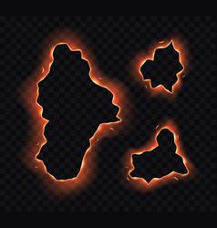 Set burning paper holes edges frames vector