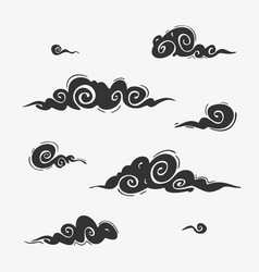 set cloud elements asian style vector image