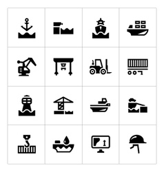 Set icons of seaport vector
