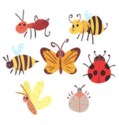 Set of cartoon funny bugs vector