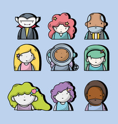 Set people kawaii avatar with expression vector