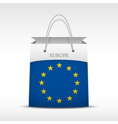 Shopping bag with flag Europe Union vector
