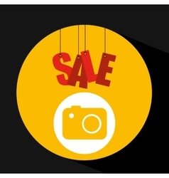 Shopping cart sale camera icon vector
