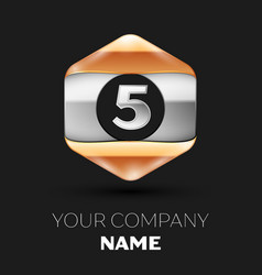 Silver number five logo in silver-golden hexagonal vector