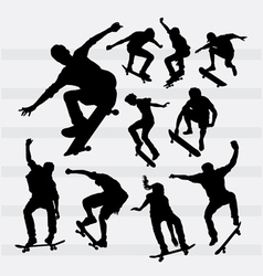 Skateboarder male and female sport silhouettes vector