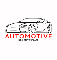 Sports car logo label silhouette vector