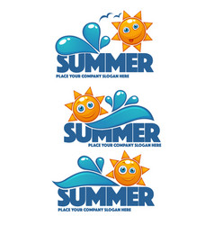 Summer time collection of water and sun stickers vector