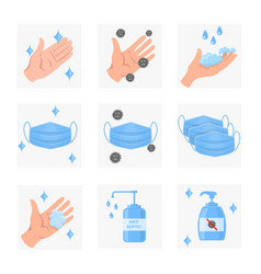 Surgical mask hands bottle antiseptic icons vector