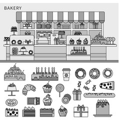 sweet confectionery in bakery line monochrome vector image