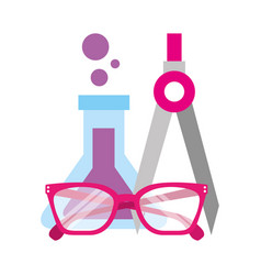 test tube chemistry glasses and compass supplies vector image