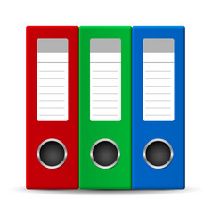 three colored office folders on white background vector image