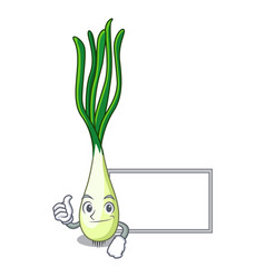 Thumbs up with board character green onion on the vector