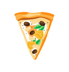 triangle slice pizza with pineapples olives vector image