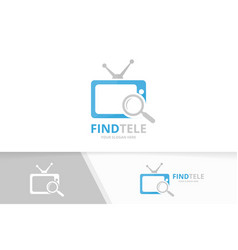 Tv and loupe logo combination television vector