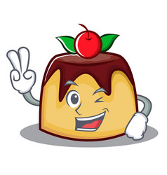 Two finger pudding character cartoon style vector